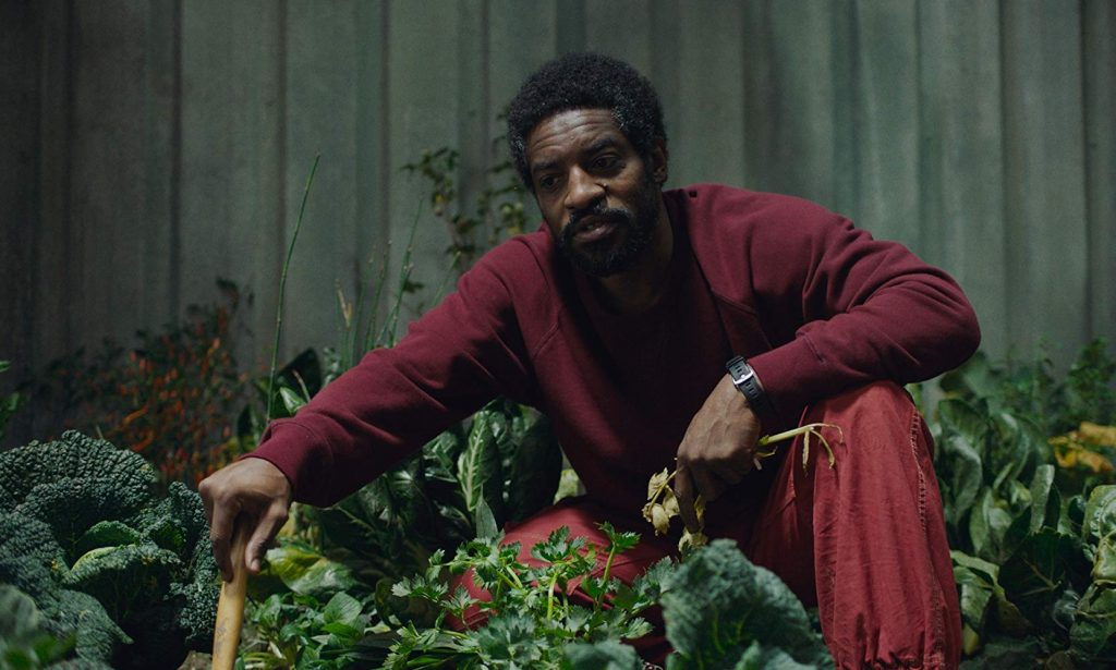Tcherny (André Benjamin) tends to the spaceship's eco-garden in High Life (2018).