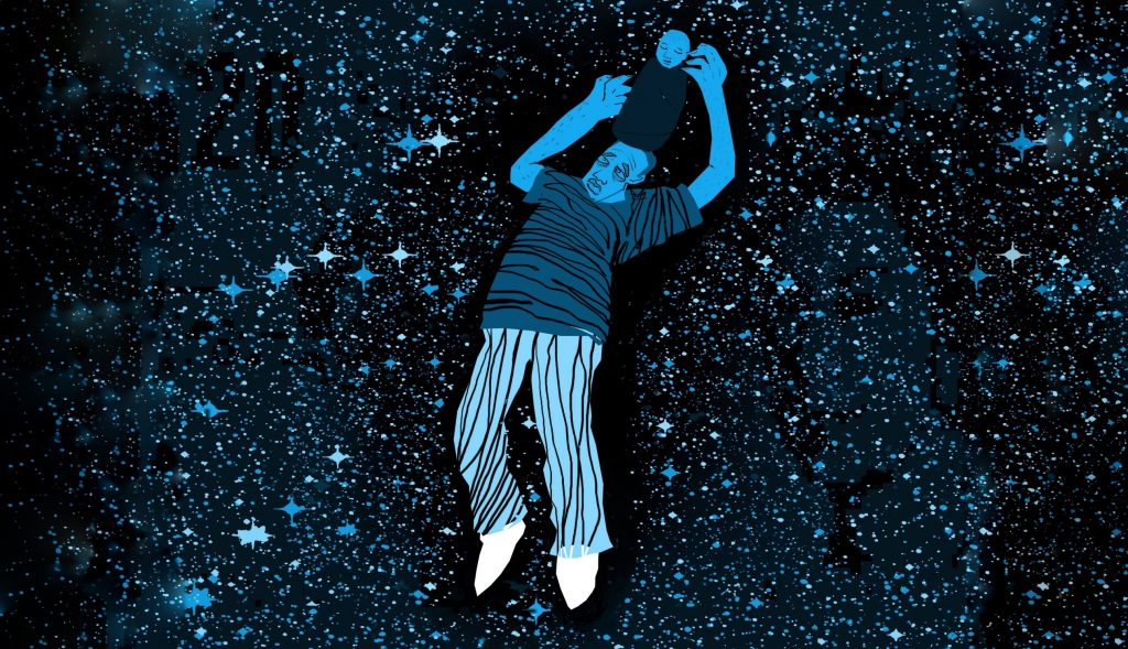 Illustration of man with baby on his head in space