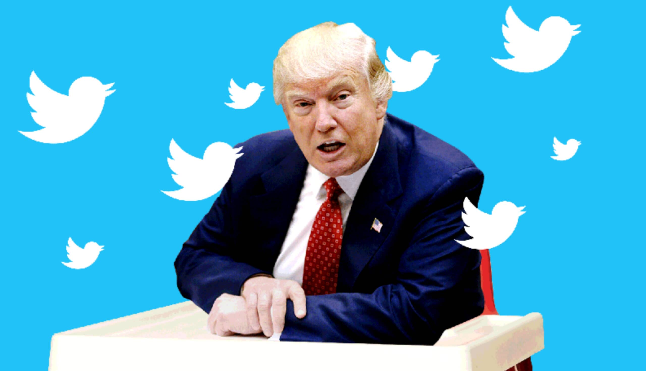 Donald Trump surrounded by twitter symbols